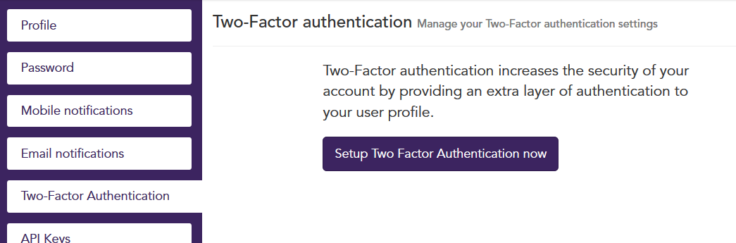 Setup Two Factor Authentication
