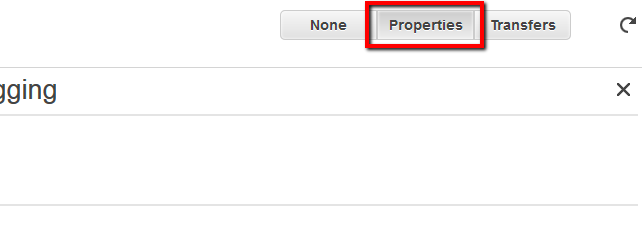 Select the S3 bucket used by the CloudTrail trail, then click the Properties tab from the right panel