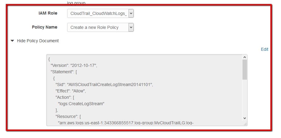 By default, the CloudTrail_CloudWatchLogs_Role role and its policy are selected