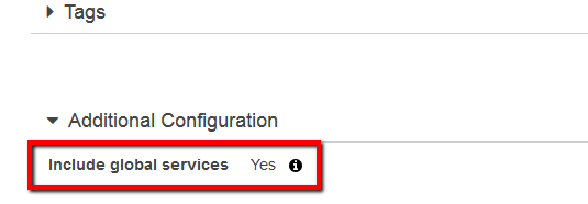 Under Additional Configuration section, check for the Include global services status
