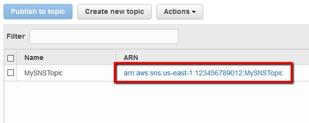 Select the newly created SNS topic by clicking on its ARN
