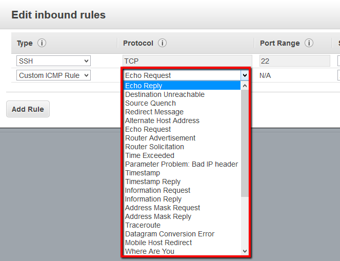 Verify the value available in the Source column for any inbound/ingress rules with the Protocol set to ICM