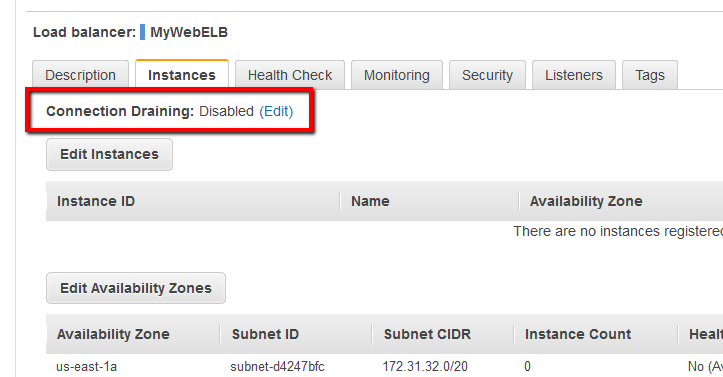 Checking if ELB Connection Draining is enabled on the AWS Console