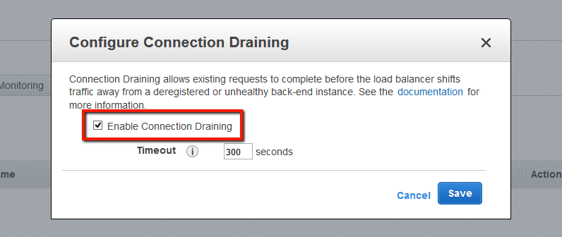 Selection of Enable Connection Draining on the AWS Console