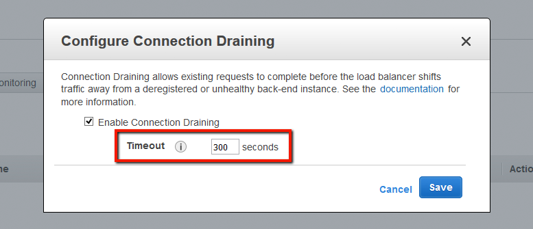 Edit timeout settings for Connection Draining on the AWS Console