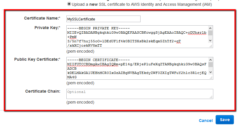to deploy the new SSL certificate by entering the required data