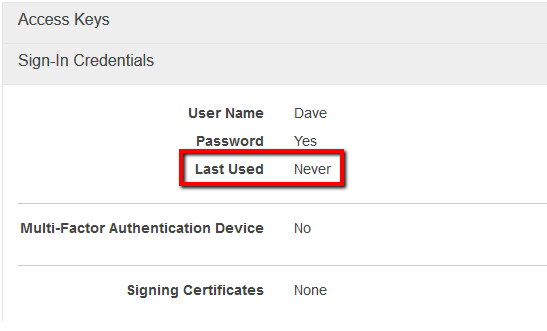 check the Last Used attribute value to determine the user password last used date. If the current value is set to Never