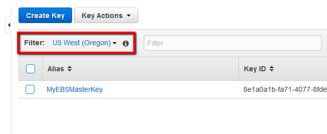 Select the appropriate AWS region from the Filter menu