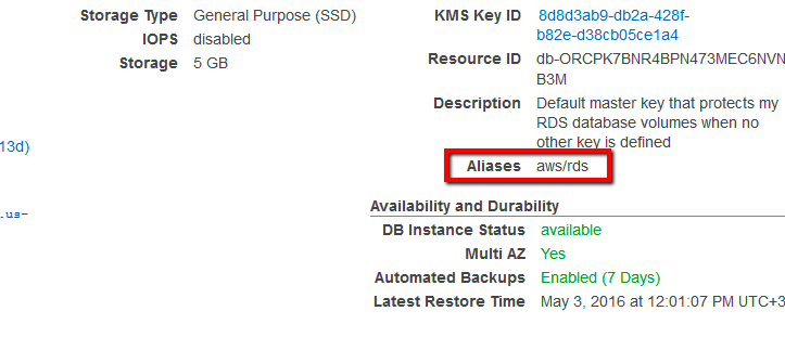 If the current status is set to Yes and the KMS key alias is aws/rds