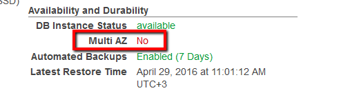 Under Availability and Durability section, search for the Multi AZ status