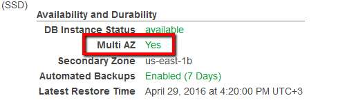 Once the feature is enabled, the Multi AZ status should change to Yes