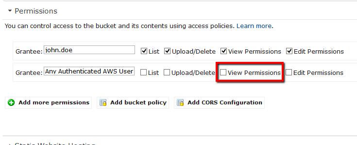 Uncheck the View Permissions (READ_ACP) permission applied to 'Any Authenticated AWS User'