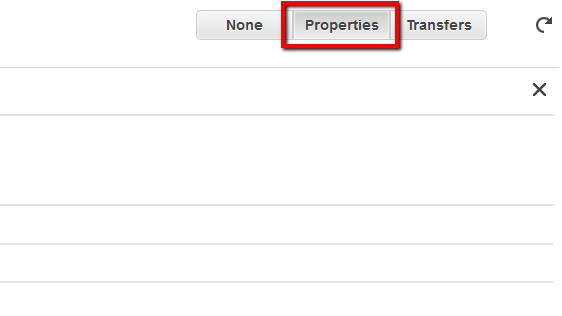 Properties tab from the S3 dashboard top right menu