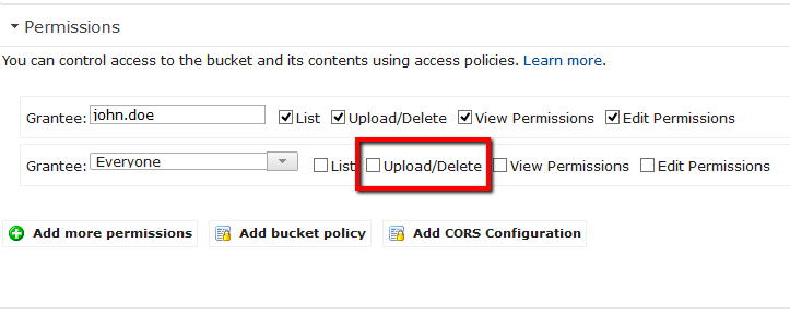 Uncheck the Upload/Delete (WRITE) permission applied to 'Everyone'