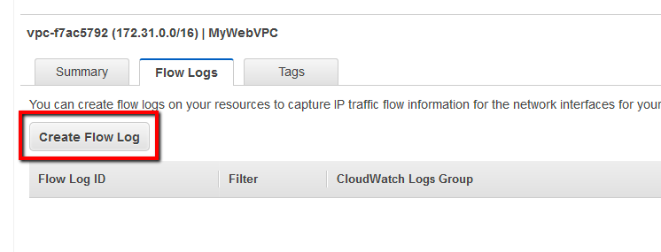 Select the Flow Logs tab from the bottom panel and click Create Flow Log