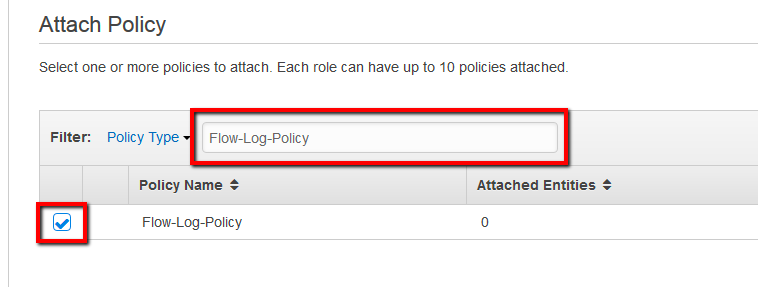 Search for the policy name created earlier and select it