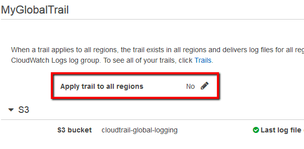Apply trail to all regions status set to no