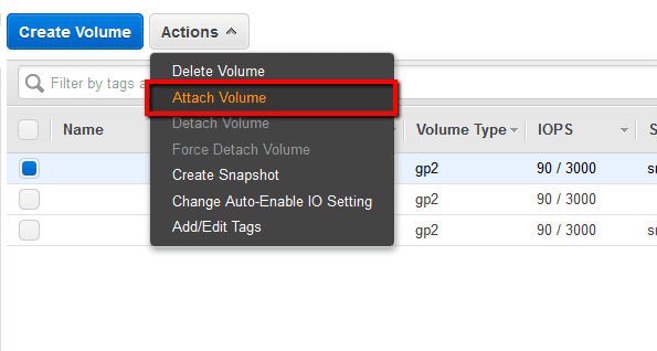 Click the Actions dropdown button from the EBS dashboard top menu and select Attach Volume