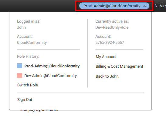The display name and color will now replace the user name in the account navigation bar