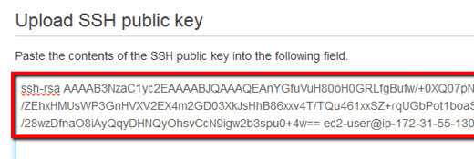 click Upload SSH public key button to initiate the upload process for the new SSH public key