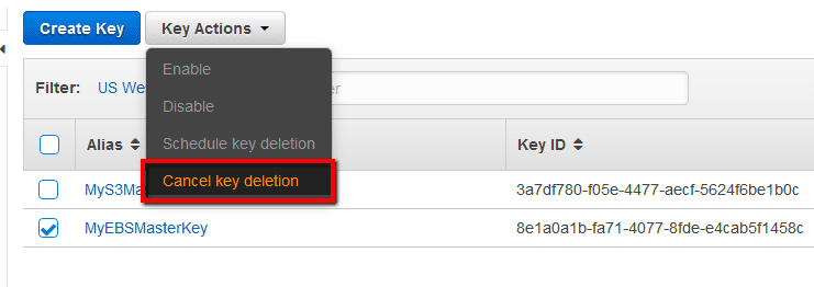 Cancel key deletion
