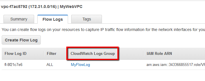 click on the log group name listed under the CloudWatch Logs Group column